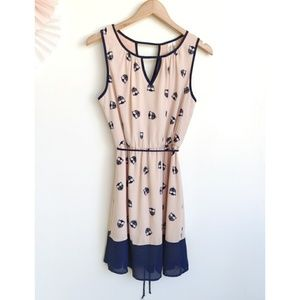 Pink Owl Pink and Blue Owl Print Dress with Tie